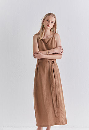 Nicknnicole닉앤니콜 ROBE SLEEVELESS LONG OPS_CAMEL