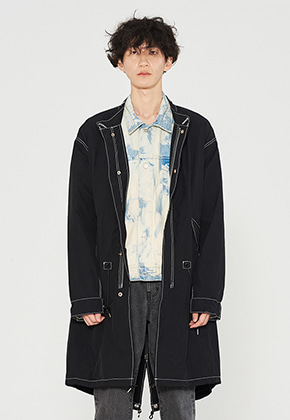 INNER CITY AUDIO이너시티오디오 STITCH CONTRAST FISHTAIL PARKA BLACK