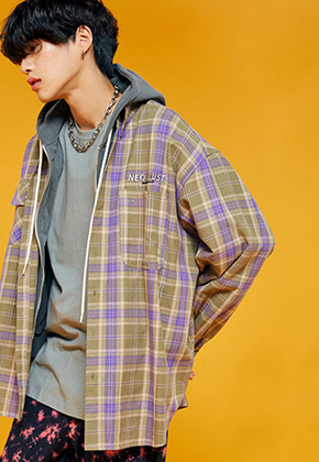 NEONMOON네온문 NEONDUST. 19F CHECK SHIRT - PURPLE