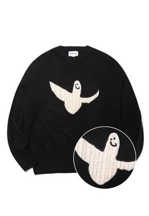 Markgonzales마크곤잘레스 M/G ANGEL APPLIQUE CREWNECK KNIT BLACK