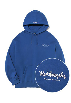 Markgonzales마크곤잘레스 M/G SMALL SIGN LOGO HOODIE INDIGO BLUE
