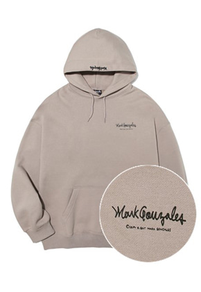 Markgonzales마크곤잘레스 M/G SMALL SIGN LOGO HOODIE BEIGE