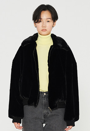 INNER CITY AUDIO이너시티오디오 HIGHNECK ECO FUR JACKET BLACK