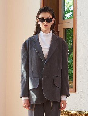 13Month써틴먼스 [10/7 예약배송] OVERSIZE TWO BUTTON SET JACKET (GRAY)