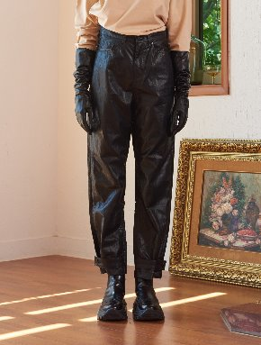 13Month써틴먼스 [10/18 예약배송] SNAP WIDE LEATHER PANTS (BLACK)