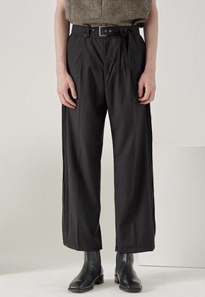 Noun노운 wide pintuck belted pants (black)