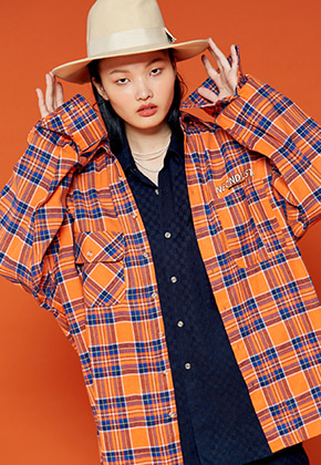 NEONMOON네온문 NEONDUST. 19F CHECK SHIRT - ORANGE