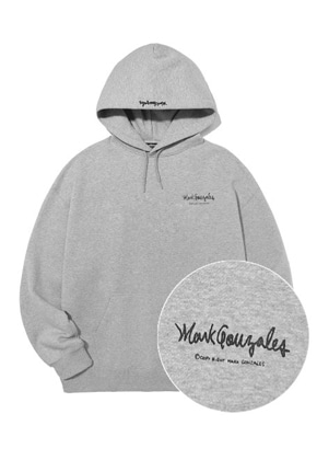 Markgonzales마크곤잘레스 M/G SMALL SIGN LOGO HOODIE GRAY