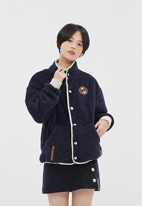 Romantic Crown로맨틱크라운 BUTTON FLEECE JUMPER_NAVY