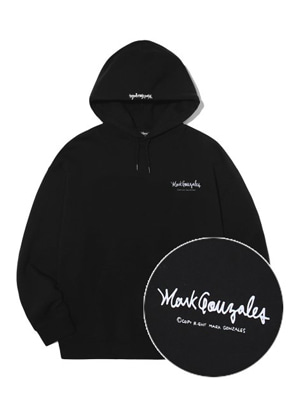 Markgonzales마크곤잘레스 M/G SMALL SIGN LOGO HOODIE BLACK