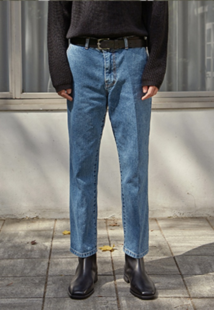 Deans딘스 [DEANS] SLIM TAPERED WASH JEAN_DENIM