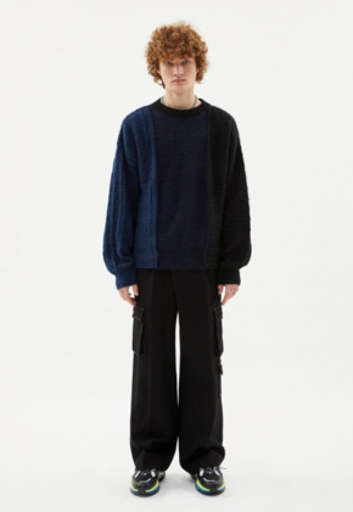 Anderssonbell앤더슨벨 CLAUD MULTI CARGO POCKET WIDE LEGGED TROUSERS apa337m(Black)