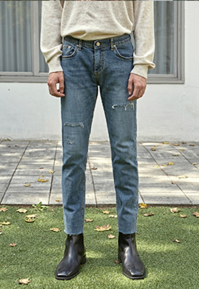 Deans딘스 [DEANS] DAMAGE SLIM CUTTING JEAN_DENIM