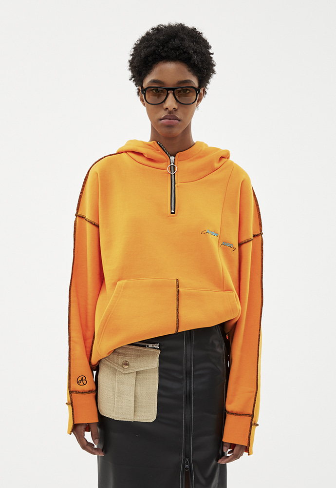 Anderssonbell앤더슨벨 ASYMMETRY STITCH POINT HOODIE atb264u(ORANGE)