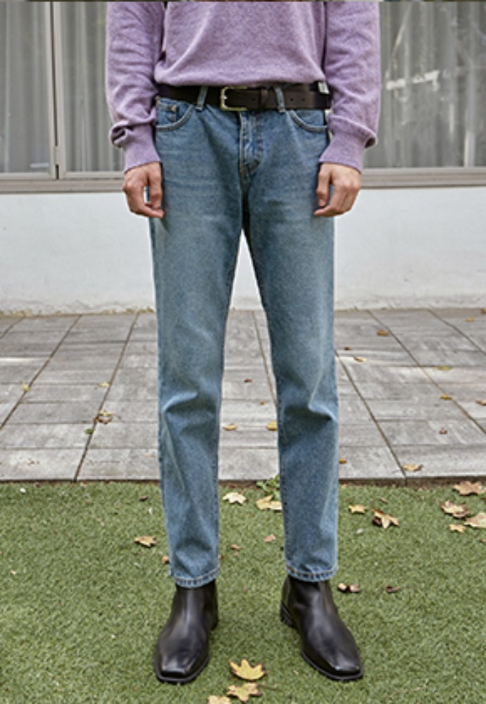 Deans딘스 [DEANS] WASH LONG TAPERED JEAN_DENIM