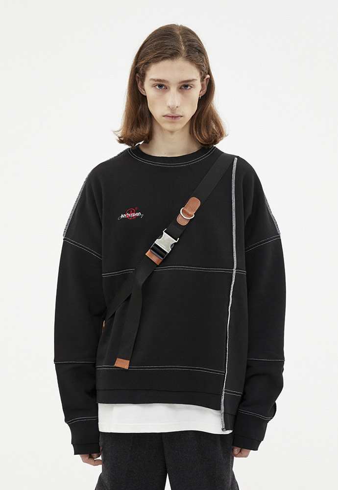 Anderssonbell앤더슨벨 ASYMMETRY STITCH POINT SWEATSHIRTS atb266u(Black)