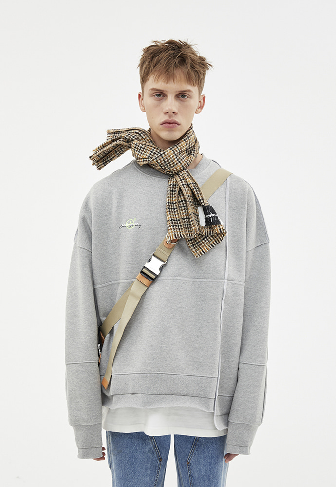 Anderssonbell앤더슨벨 ASYMMETRY STITCH POINT SWEATSHIRTS atb266u(GRAY)