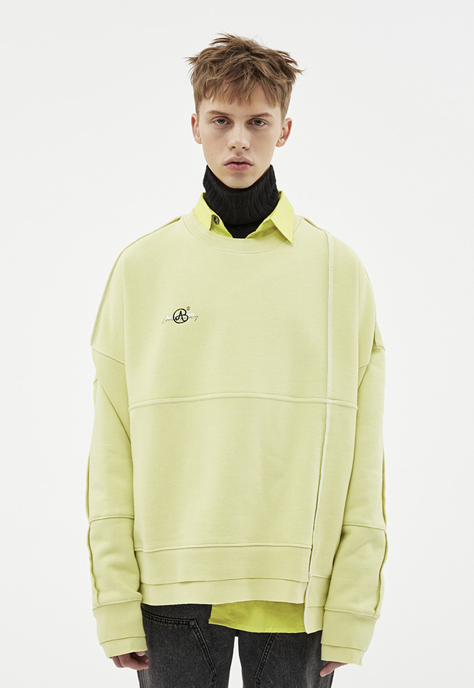 Anderssonbell앤더슨벨 ASYMMETRY STITCH POINT SWEATSHIRTS atb266u(LIME)