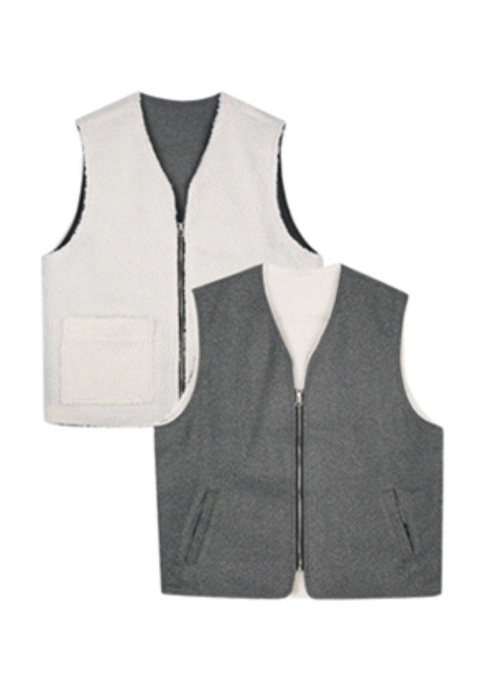 Voiebit브아빗 V663 REVERSIBLE WOOL VESTGRAY/WHITE