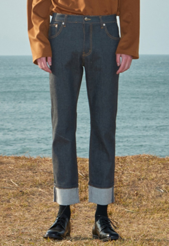 Voiebit브아빗 V289 INDIGO ROLL-UP DENIM PANTSGRAY