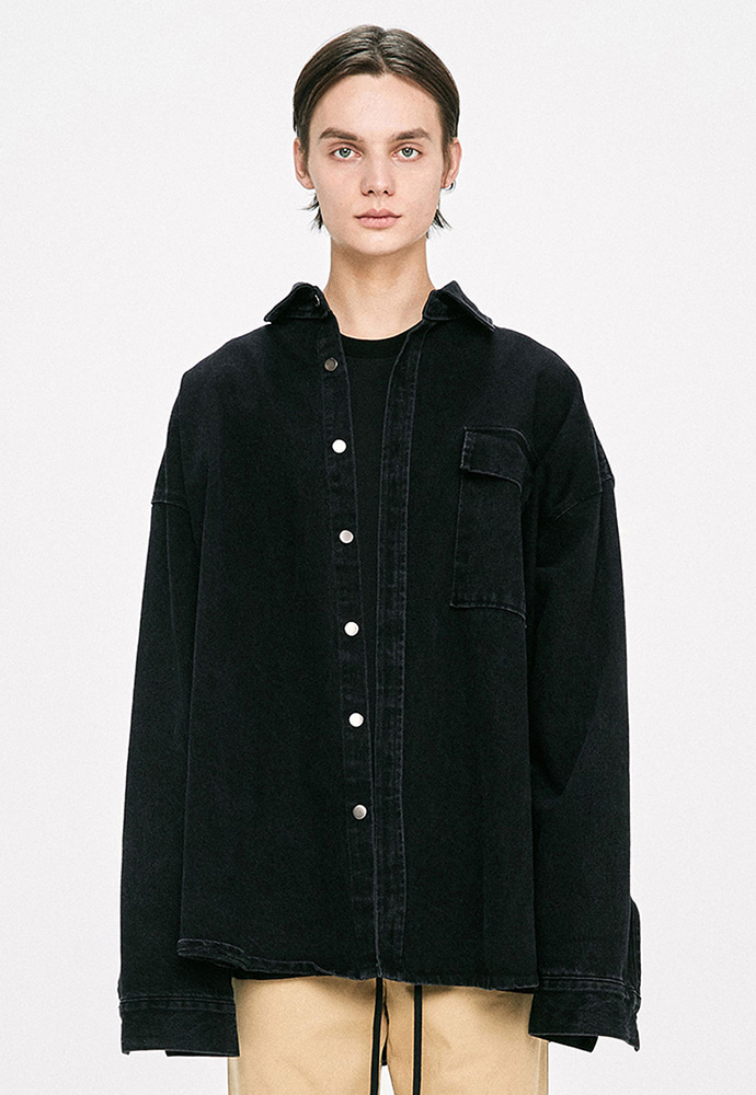D.prique디프리크 Denim Shirt Jacket - Black