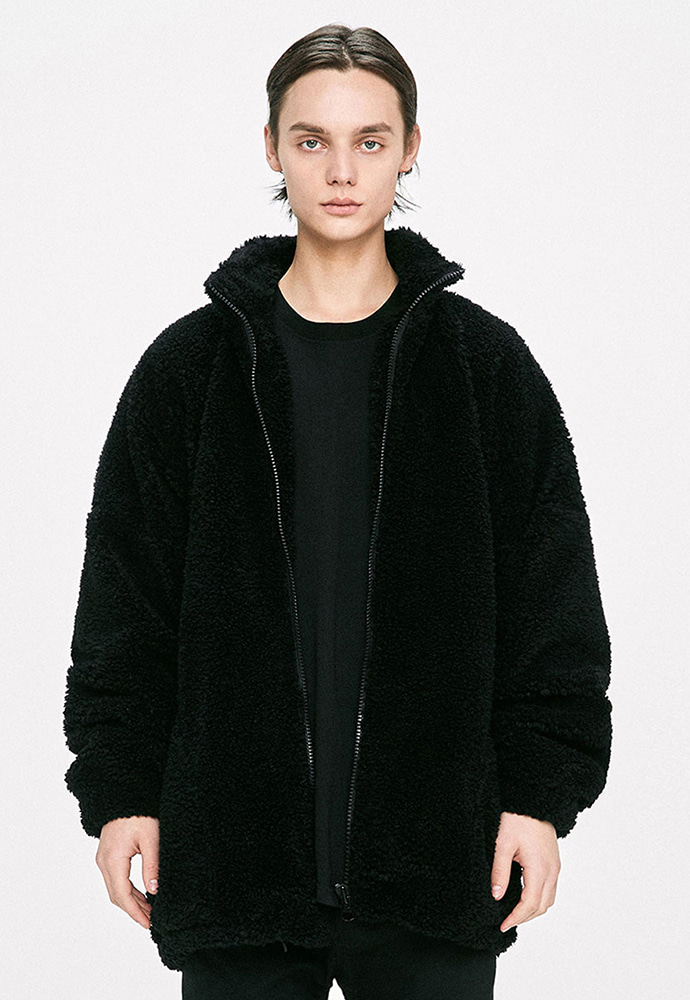 D.prique디프리크 Oversized Shearling Jacket - Black