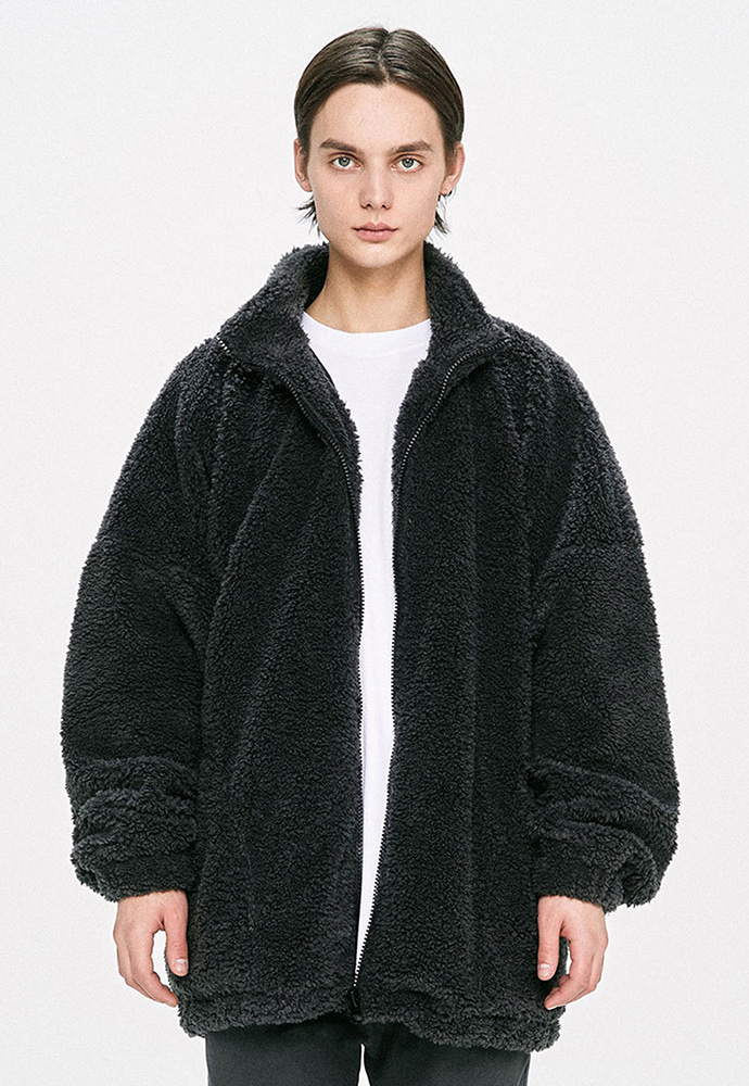 D.prique디프리크 Oversized Shearling Jacket - Grey