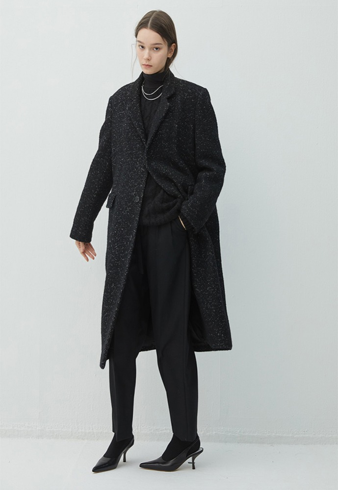 Haleine알렌느 BLACK tweed long singlecoat(KJ014)