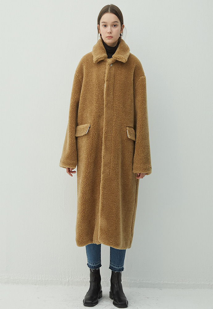 Haleine알렌느 CAMEL shearling effect maccoat(HJ037)
