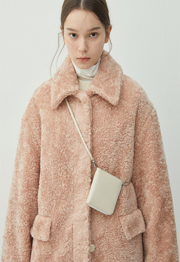 Haleine알렌느 PEACH shearling effect maccoat(HJ047)