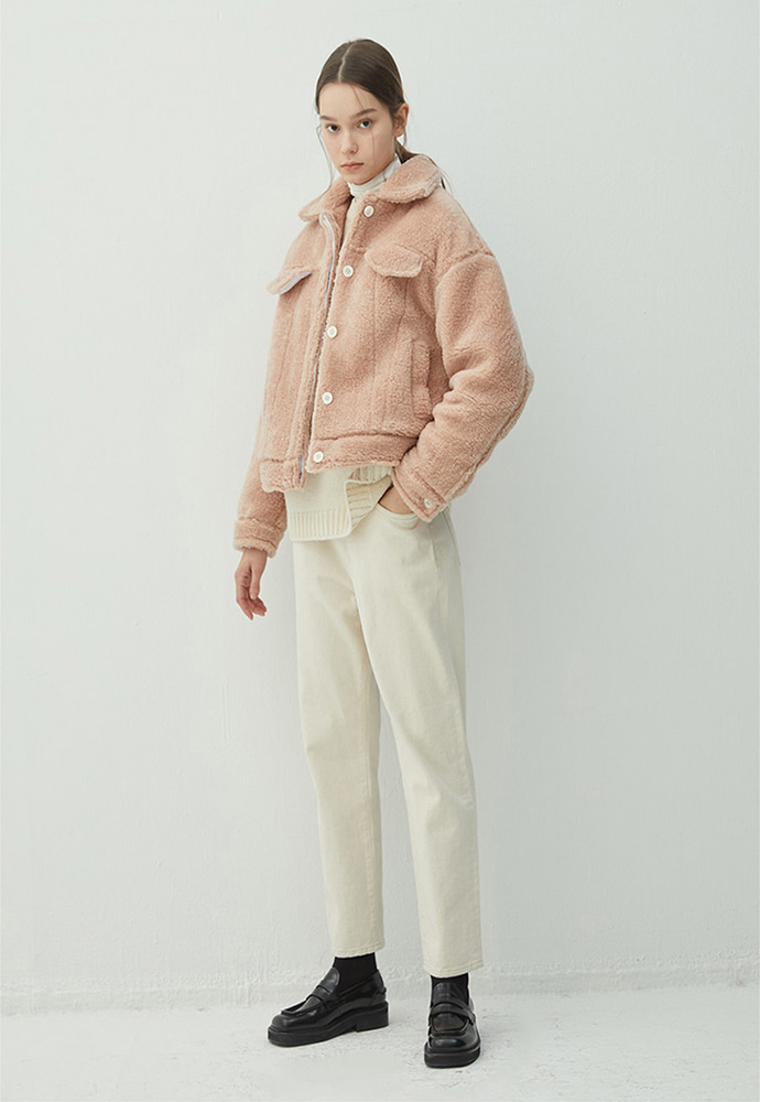 Haleine알렌느 PEACH shearling effect trucker jacket(HJ010)