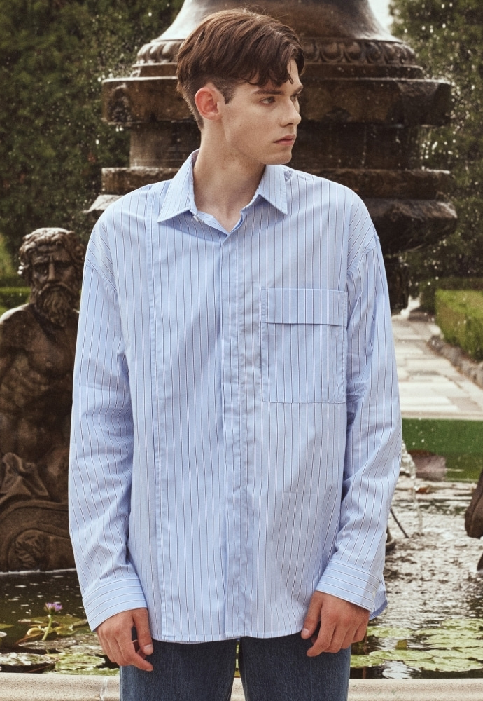 Garment lable가먼트레이블 Addition Over Stripe Shirt - Sky Blue