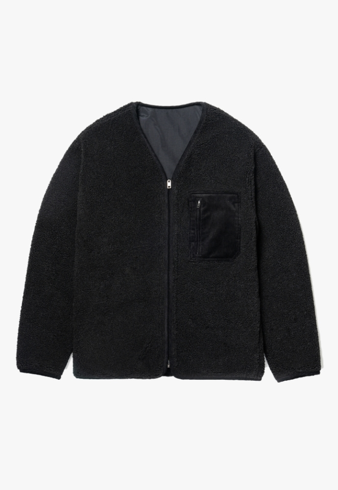 Garment lable가먼트레이블 Reversible Boa Fleece Jacket - Black