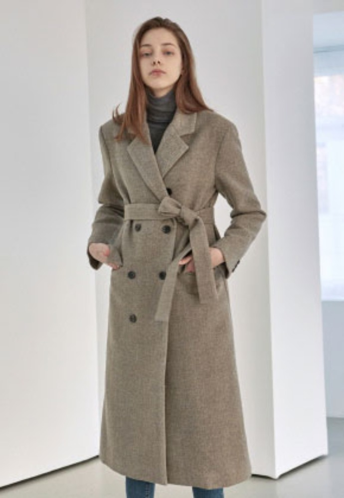 Yan13얀써틴 HERRINGBONE DOUBLE LONG COAT_BROWN
