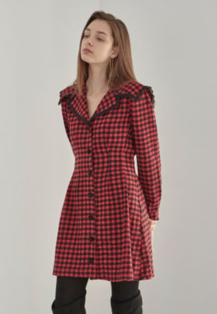 Yan13얀써틴 GINGHAM FLARE MINI OPS_RED