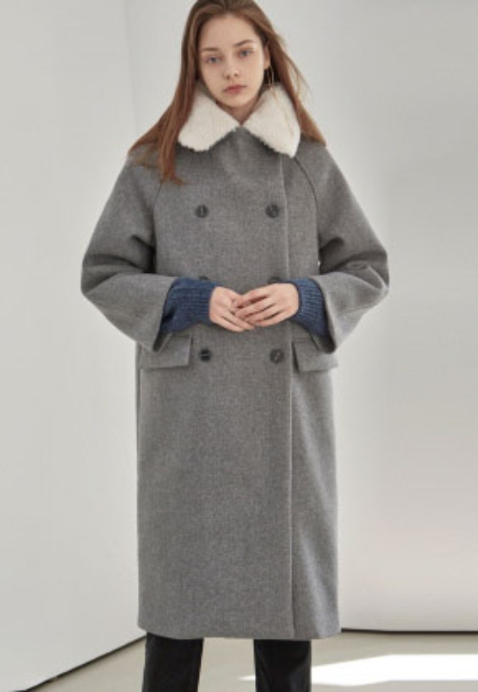 Yan13얀써틴 [12/13 (금) 예약발송] FUR DOUBLE LONG PEACOAT_GRAY