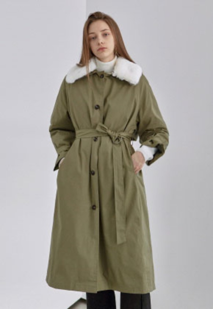Yan13얀써틴 FUR MILITARY PADDING COAT_LIGHT KHAKI