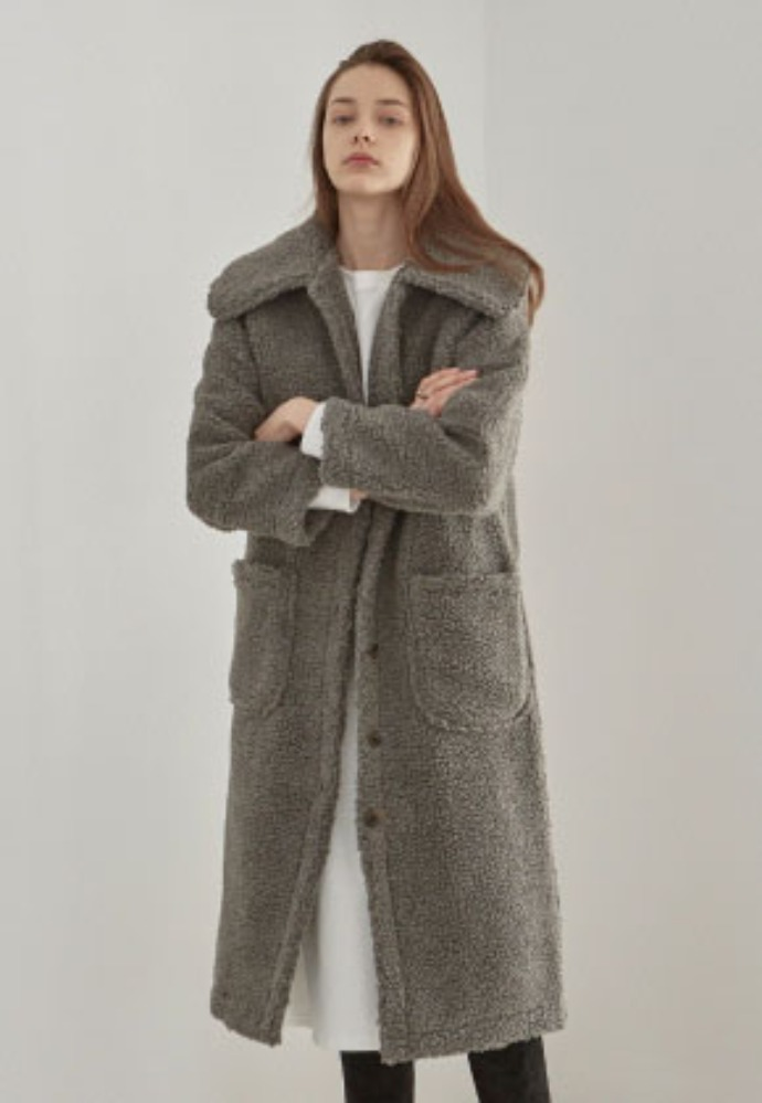 Yan13얀써틴 DUMBLE FLAT LONG COAT_CHARCOAL