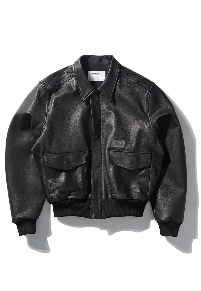 NOMANUAL노메뉴얼 NM A-2 LEATHER JACKET - BLACK