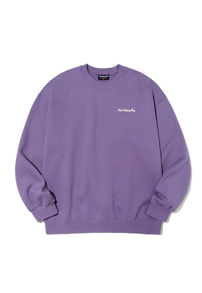 Markgonzales마크곤잘레스 M/G SMALL SIGN LOGO CREWNECK PURPLE 20SS