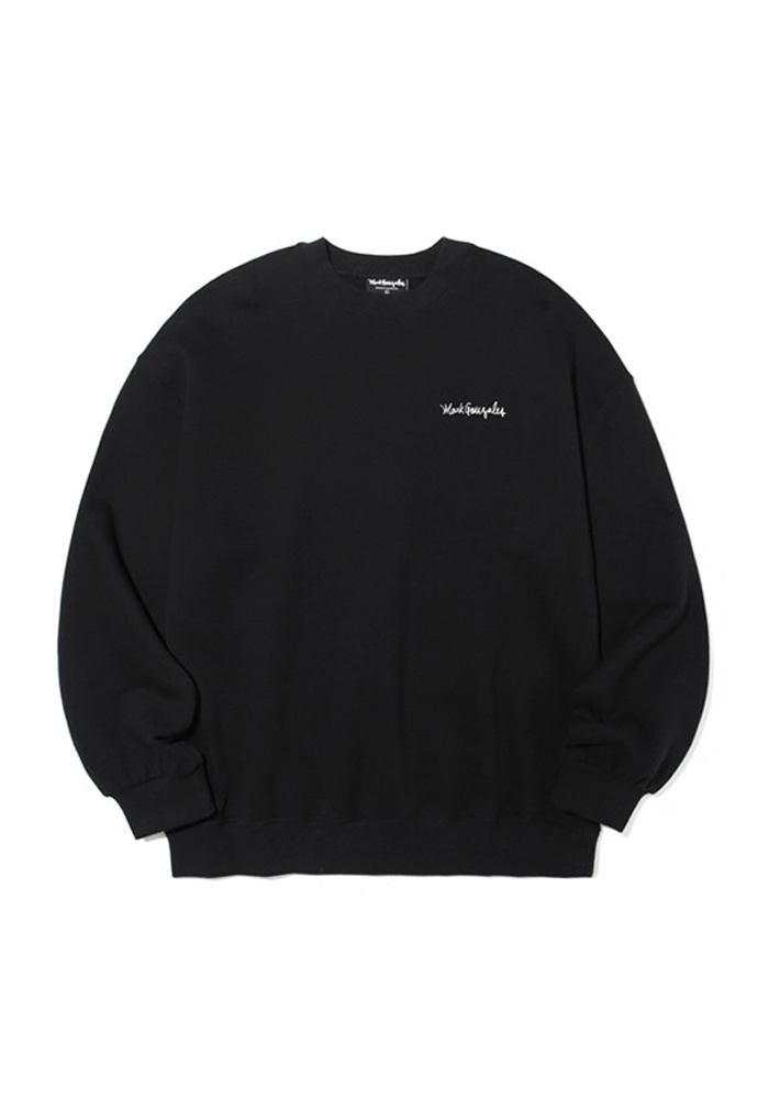 Markgonzales마크곤잘레스 M/G SMALL SIGN LOGO CREWNECK BLACK 20SS