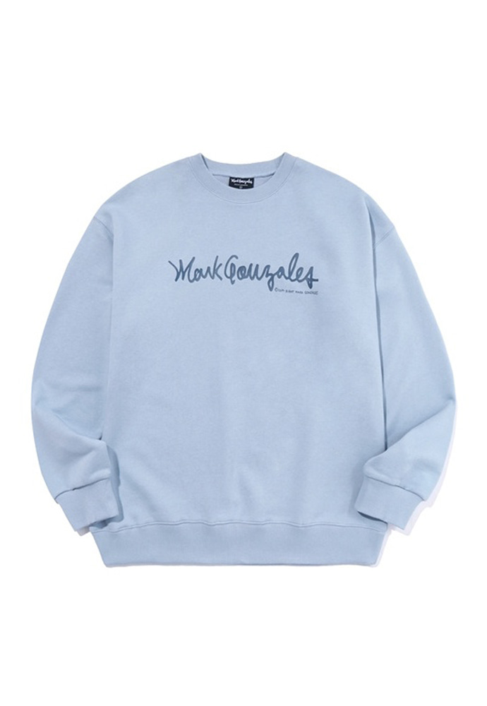 Markgonzales마크곤잘레스 M/G SIGN LOGO CREWNECK LIGHT BLUE 20SS