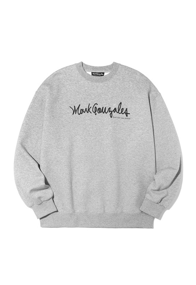 Markgonzales마크곤잘레스 M/G SIGN LOGO CREWNECK GRAY 20SS