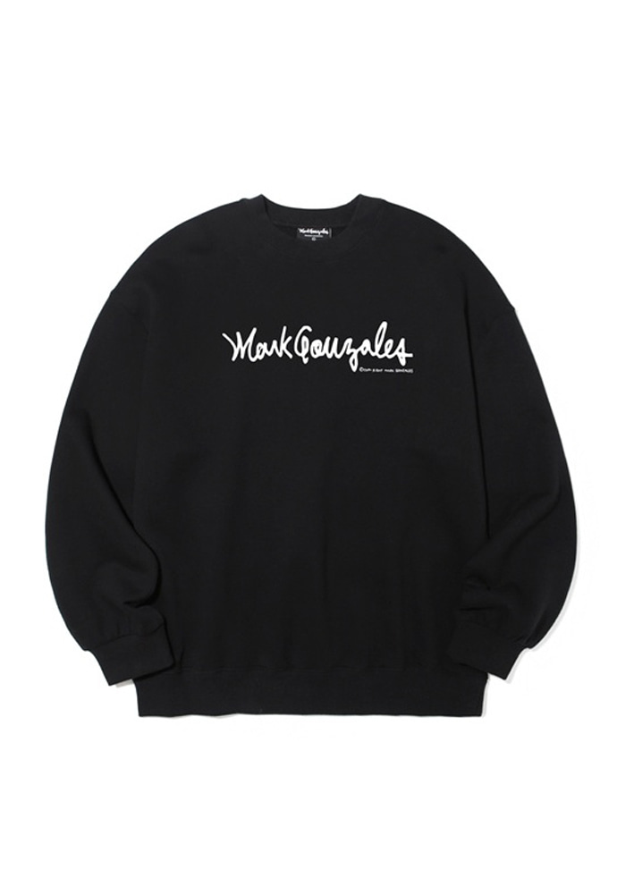 Markgonzales마크곤잘레스 M/G SIGN LOGO CREWNECK BLACK 20SS