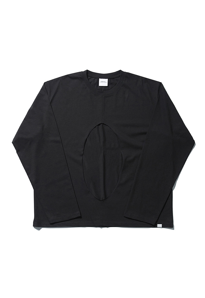 NOMANUAL노메뉴얼 PERFORATED LONG SLEEVE TEE - BLACK