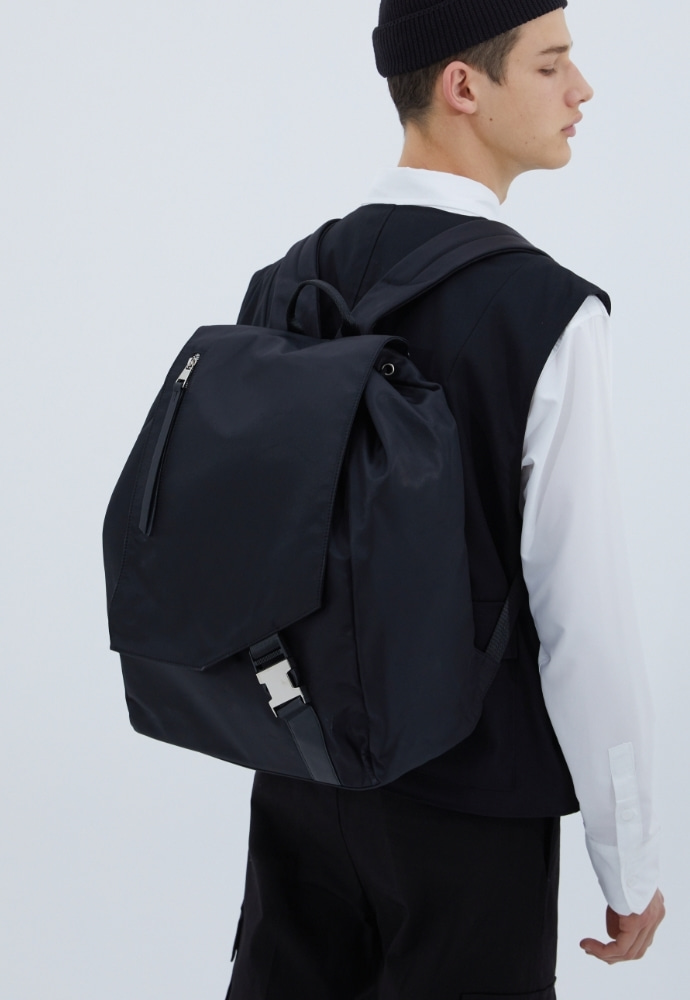 ADDOFF애드오프 Oblique Buckle Backpack - Black