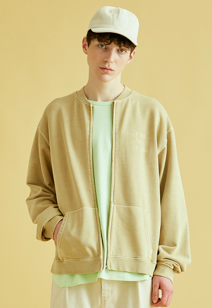 BRICK브릭 GARMENT DYEING ZIPUP SWEAT (BEIGE)