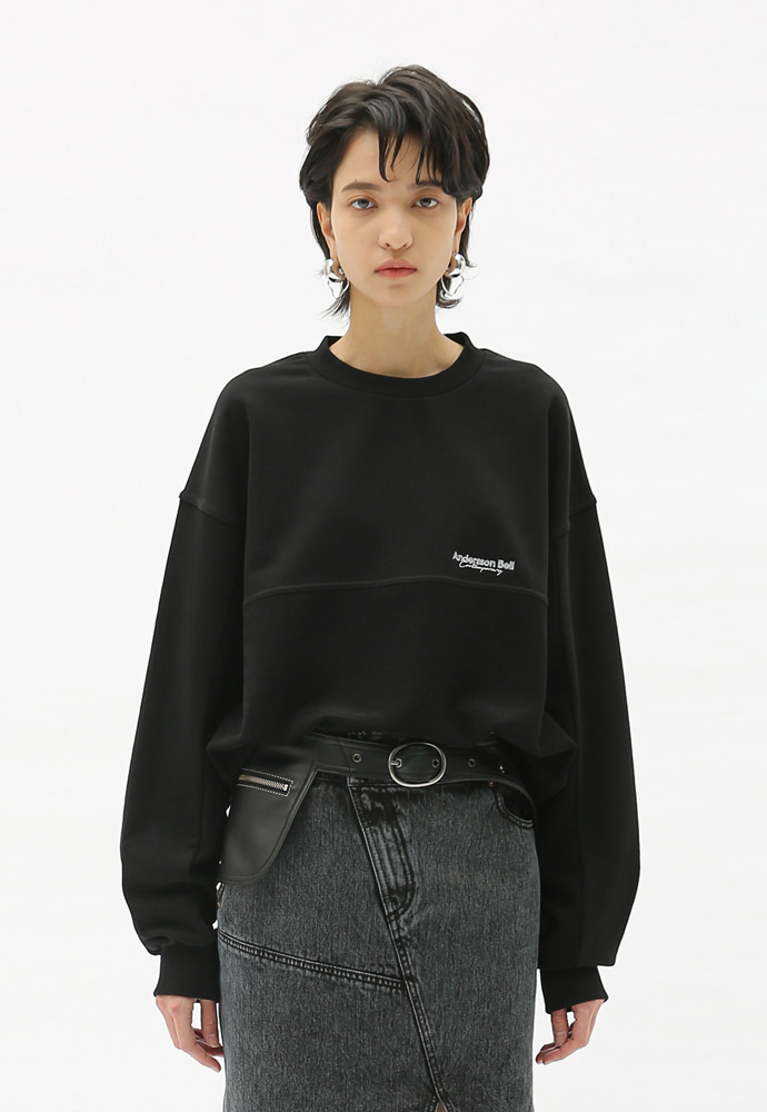 Anderssonbell앤더슨벨 (UNISEX) INSIDE OUT CONTRAST PANEL SWEATSHIRTS BLACK