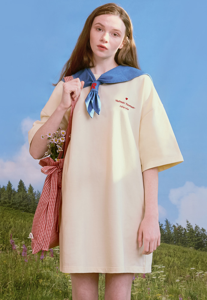 ROLAROLA로라로라 (OP-20112) DETACHABLE SAILOR ONE-PIECE IVORY