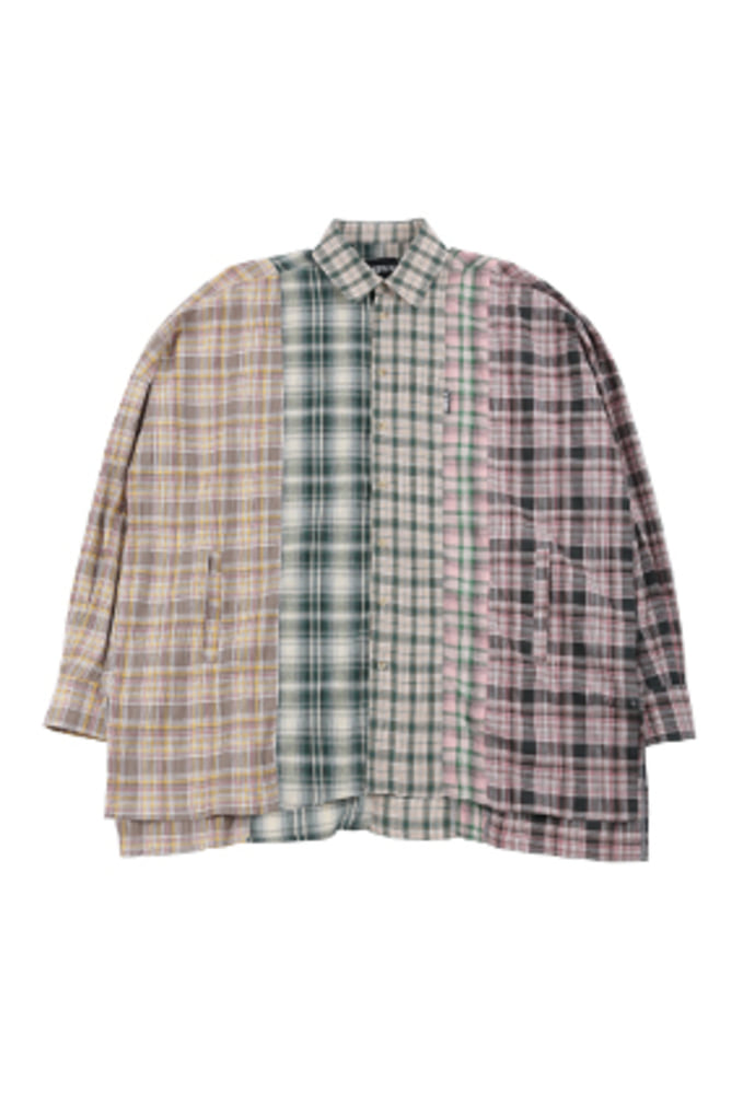 AJO BY AJO아조바이아조 Oversized Check Mixed Shirt [Green]